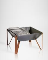 Fogón de acero con Plancha Carbon/Leña, Alphadesign 50 cms